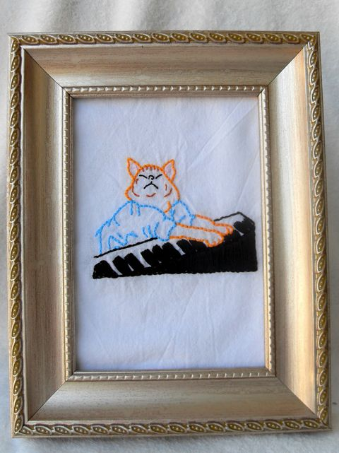 Keyboard Cat Cross Stitch