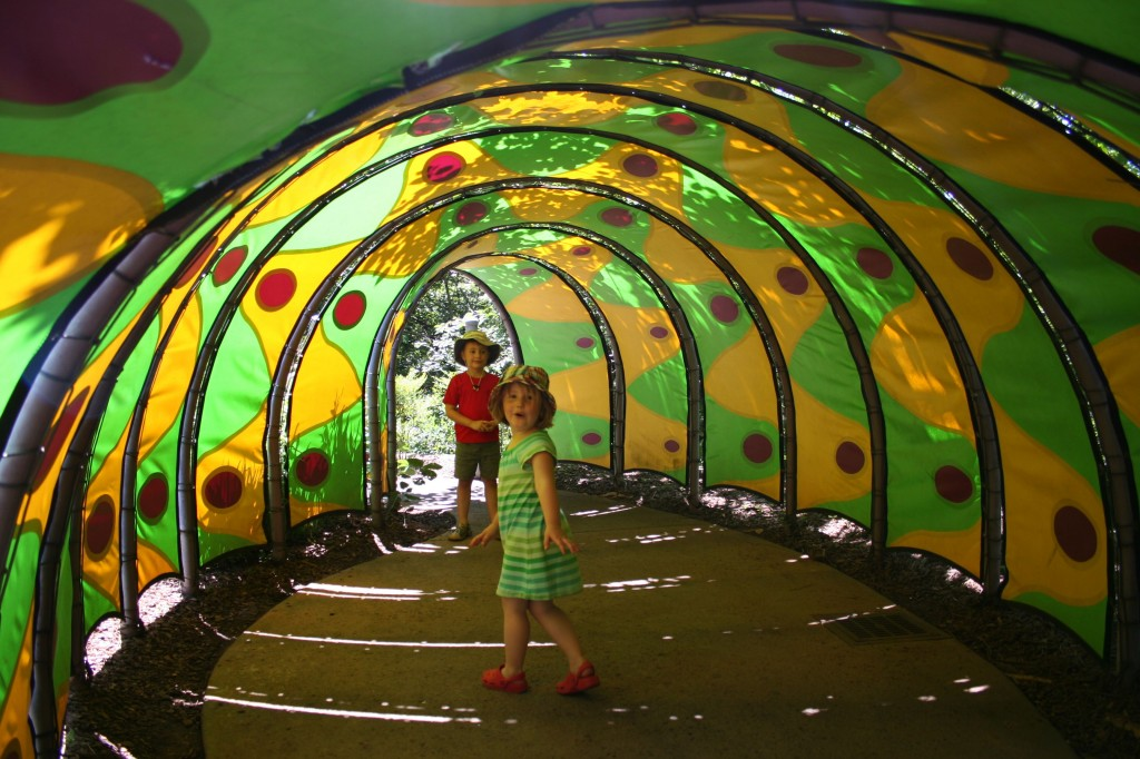 Kids in Caterpillar Tunnel