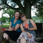 Shannon and I having post-triathlon beers at the park.