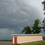 Partially-Painted Boathouse in Storm
