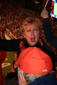 This woman was the Auburn version of my Mom cheering for the Vols. Look at those flashing eyes! She was looking right at me, too, Bulldog interloper that i am. She kinda scared me.