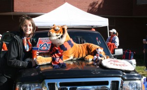 Lucy gets her picture made with this interesting Tiger setup. It was her first SEC game, and boy did she pick the right one.