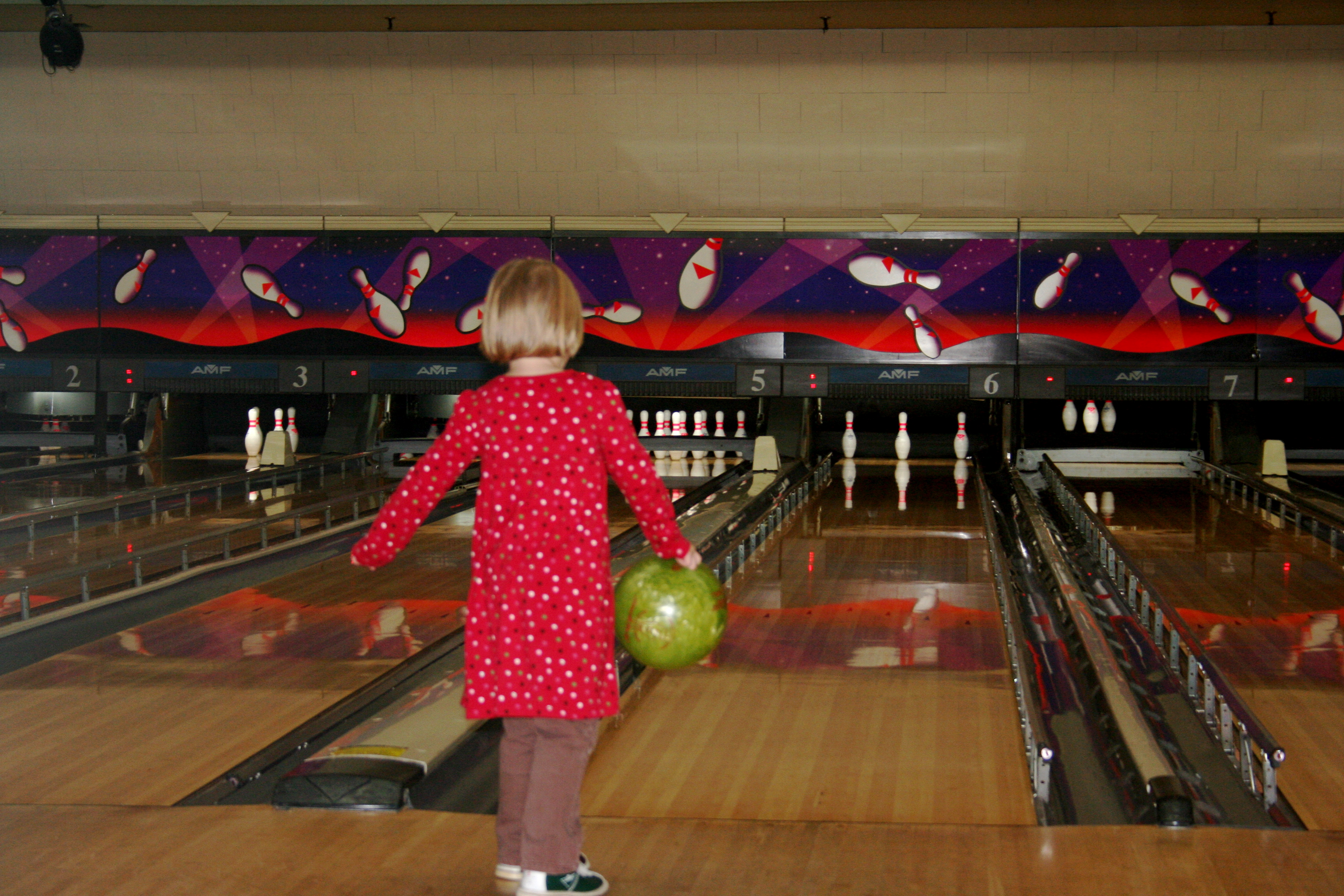 This ball was pretty much bowling her. . .