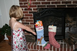 The next morning, Tiller found the stockings and didn't even see her bike at first!