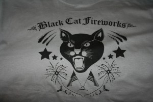 I have a thing for the Black Cat Fireworks logo. It cracks me up, always has. Todd finally got the hint and got me a Black Cat shirt! Rowr!