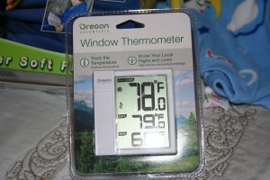 He also got me a thermometer. Lisa rolled her eyes that I would get excited over this, but I love getting stuff for my yard, and nature-type stuff.