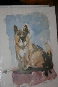 My dog Quint in a watercolor by Iain Stewart.