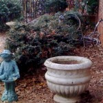 Little Boy Statue and Big Ass Pot That I Could Not Have Lifted Without Todd's Help.