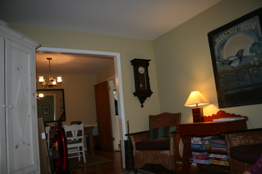 Will probably paint dining room door white to brighten room.