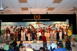 The cast of the first grade play: The Bear Went Over the Mountain.
