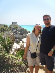 Me and Todd at Tulum. We swam below this later, in that very blue water.
