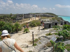 Here is me traipsing over rocks at Tulum. Seconds later a lady busted ass on the same rocks. I did not laugh.