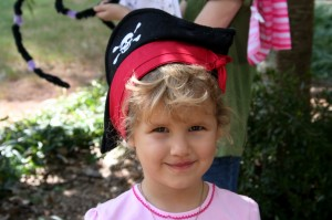 Kate won the award for cutest pirate hat and sash.