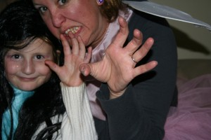 Tiller and I practicing scary face and spooky hands.
