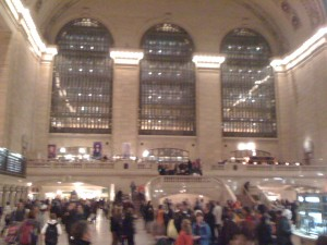 Blurry, rainy evening at Grand Central Station.