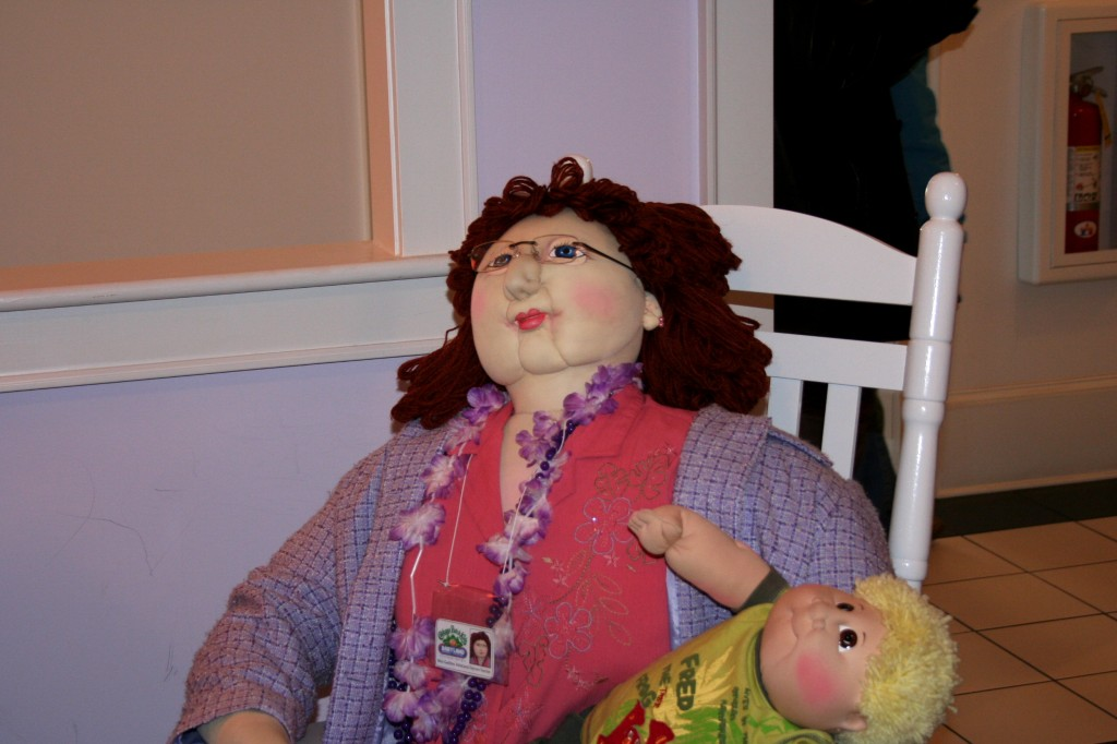 This is a creepy stuffed nurse doll.