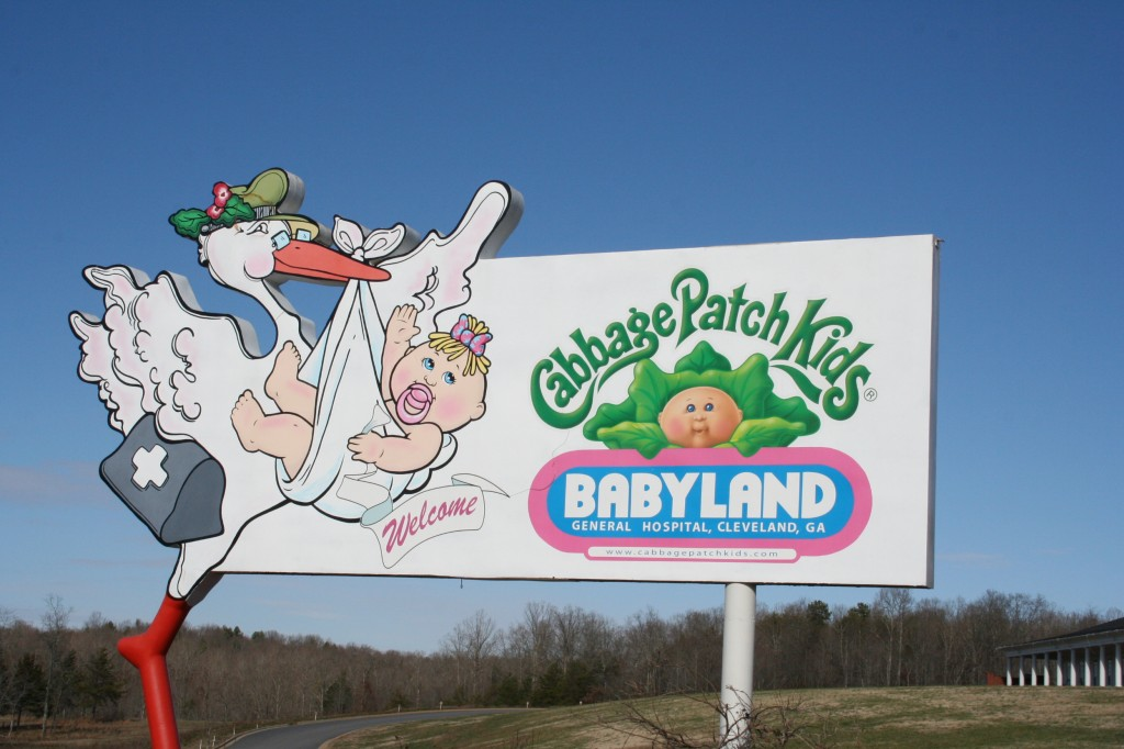 "Babyland General sign. Much confusion with Tills over the stork bringing the baby lore. She's like, ""I thought mamas and daddies made babies in tummies. . . """
