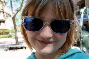 Wearing mama's shades.