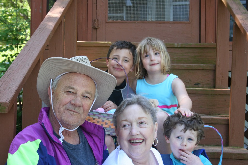 Grandparents and Grandkids. Um, not sure what Cecil is wearing.
