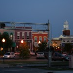 Downtown Opelika at dusk.