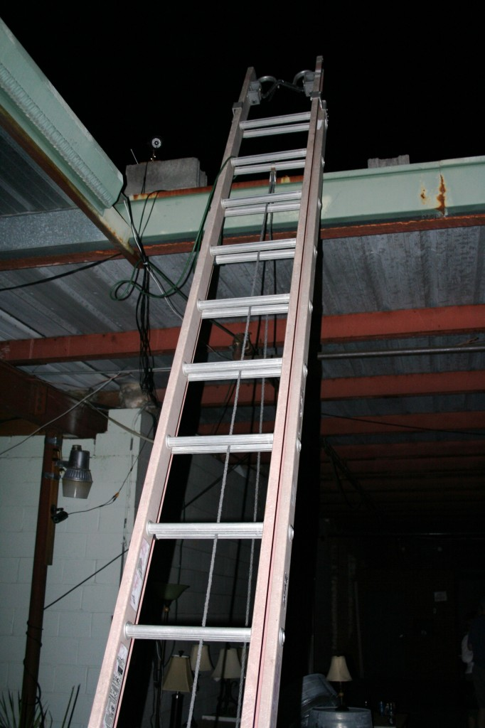 I really, really wanted to climb this ladder and check out the roof, but todd forbade it. (haha. Yeah right. I was just too chicken, knowing it would be messy coming back down.)