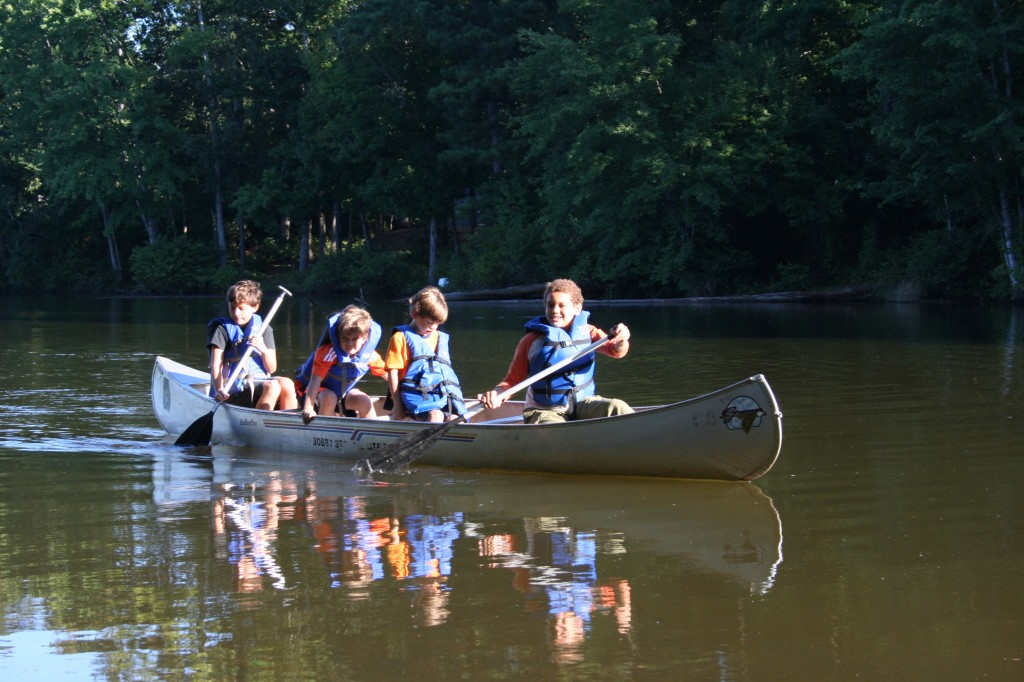 Kids in canoe